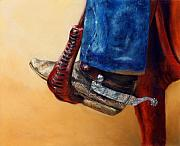 Old West Pastels Prints - His Favourite Boots Print by Sabina Haas