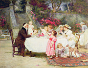Party Birthday Party Paintings - His First Birthday by Frederick Morgan