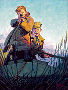Hunting Posters - His First Duck Poster by Norman Rockwell