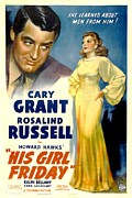 Films By Howard Hawks Framed Prints - His Girl Friday, Cary Grant, Rosalind Framed Print by Everett