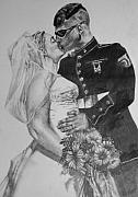 Marines Drawings Prints - His Hero at Home Print by Darcie Duranceau