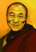 Buddhist Pastels Framed Prints - His Holiness Framed Print by Elsa Atzori
