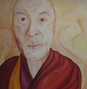 Lama Painting Framed Prints - His Holiness the Dalai Lama Framed Print by Lorraine Toler