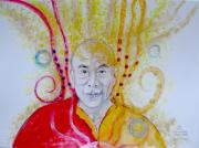 Lama Painting Framed Prints - His Holyness Dalai Lama Shaman Framed Print by April Turner