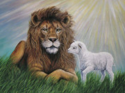 Lion Lamb Posters - His Kingdom Come Poster by Fawn McNeill