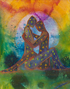 Couple Paintings - His Loves Embrace by Ilisa  Millermoon