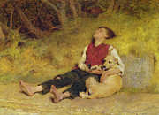Resting Metal Prints - His Only Friend Metal Print by Briton Riviere