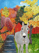 Donkey Mixed Media Prints - His Red Abode Print by Lisa Kramer
