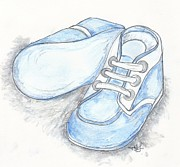 Shower Pastels Prints - His Shoes Print by Theresa Johnson