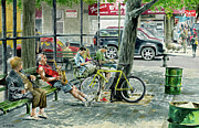 Bicycle Painting Originals - His Stage by Tom Hedderich
