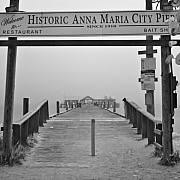 Anna Maria Island Framed Prints - Historic Anna Maria City Pier in Fog Infrared 52 Framed Print by Rolf Bertram
