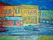 Street Scene Pastels - Historic downtown Elgin at twilight by Richalyn Marquez