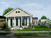 Sidewalk Paintings - Historic Louisiana Home and Garden by Elaine Hodges