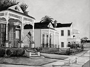 Southern Plantation Paintings - Historic Louisiana Homes in Black and White by Elaine Hodges