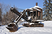 Pulley Prints - Historic Mining Steam Shovel during Alaska Winter Print by Gary Whitton