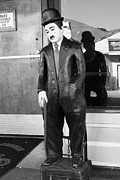Small Towns Metal Prints - Historic Niles District in California Near Fremont . Charlie Chaplin Statue at The Florence Bar . bw Metal Print by Wingsdomain Art and Photography