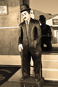 Historic Niles District In California Near Fremont . Charlie Chaplin Statue At The Florence Bar . Se Print by Wingsdomain Art and Photography