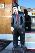 Niles Canyon Railway Prints - Historic Niles District in California Near Fremont . Charlie Chaplin Statue at The Florence Bar Print by Wingsdomain Art and Photography