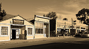 Italian Restaurant Framed Prints - Historic Niles District in California Near Fremont . Main Street . Niles Boulevard . 7D10676 . sepia Framed Print by Wingsdomain Art and Photography