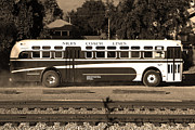 Red Photographs Prints - Historic Niles District in California Near Fremont . Niles Coach Line Bus . 7D10803 . sepia Print by Wingsdomain Art and Photography