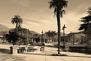 Sepia Photos Posters - Historic Niles District in California Near Fremont . Niles Depot Museum and Town Plaza.7D10651.sepia Poster by Wingsdomain Art and Photography