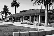 Niles Depot Museum Prints - Historic Niles District in California Near Fremont . Niles Depot Museum and Town Plaza.7D10717.bw Print by Wingsdomain Art and Photography