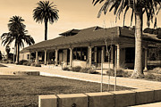 Niles Town Plaza Framed Prints - Historic Niles District in California Near Fremont . Niles Depot Museum and Town Plaza.7D10717.sepia Framed Print by Wingsdomain Art and Photography