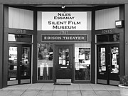 Historic Niles District In California Near Fremont . Niles Essanay Silent Film Museum . 7d10684 Bw Print by Wingsdomain Art and Photography