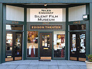 Edison Posters - Historic Niles District in California Near Fremont . Niles Essanay Silent Film Museum Edison Theater Poster by Wingsdomain Art and Photography