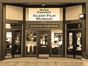 Historic Niles District In California Near Fremont . Niles Essanay Silent Film Museum.7d10684.sepia Print by Wingsdomain Art and Photography