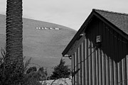 Small Towns Metal Prints - Historic Niles District in California Near Fremont . Niles Letters On Hill From Niles Town Plaza.bw Metal Print by Wingsdomain Art and Photography