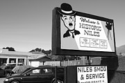 Historic Niles District In California Near Fremont . Welcome To Niles Sign . 7d10603 . Bw Print by Wingsdomain Art and Photography