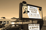 Sepia Photos Posters - Historic Niles District in California Near Fremont . Welcome To Niles Sign . 7D10603 . Sepia Poster by Wingsdomain Art and Photography