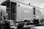 Caboose Framed Prints - Historic Niles District in California Near Fremont . Western Pacific Caboose Train . 7D10627 . bw Framed Print by Wingsdomain Art and Photography
