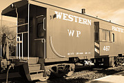 Old Caboose Prints - Historic Niles District in California Near Fremont . Western Pacific Caboose Train . 7D10627 . sepia Print by Wingsdomain Art and Photography