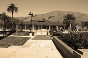 Niles Town Plaza Posters - Historic Niles District in California Near Fremont.Niles Depot Museum and Town Plaza.7D10697.sepia Poster by Wingsdomain Art and Photography
