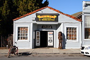 Electric Signs Prints - Historic Niles District in California.Motorized Bike Outside Devils Workshop and Mercantile.7D12727 Print by Wingsdomain Art and Photography