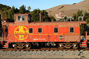Old Cabooses Framed Prints - Historic Niles Trains in California . Old Sante Fe Caboose . 7D10832 Framed Print by Wingsdomain Art and Photography