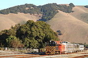 Old Caboose Prints - Historic Niles Trains in California . Old Southern Pacific Locomotive and Sante Fe Caboose . 7D10817 Print by Wingsdomain Art and Photography