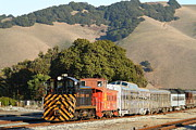 Niles Canyon Railway Prints - Historic Niles Trains in California . Old Southern Pacific Locomotive and Sante Fe Caboose . 7D10818 Print by Wingsdomain Art and Photography