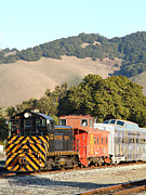 Old Caboose Prints - Historic Niles Trains in California . Old Southern Pacific Locomotive and Sante Fe Caboose . 7D10819 Print by Wingsdomain Art and Photography