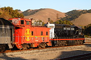 Old Caboose Prints - Historic Niles Trains in California . Old Southern Pacific Locomotive and Sante Fe Caboose . 7D10843 Print by Wingsdomain Art and Photography