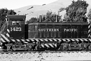 Niles Town Plaza Framed Prints - Historic Niles Trains in California . Southern Pacific Locomotive . 7D10829 . bw Framed Print by Wingsdomain Art and Photography