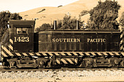 Niles Town Plaza Framed Prints - Historic Niles Trains in California . Southern Pacific Locomotive . 7D10829 . sepia Framed Print by Wingsdomain Art and Photography