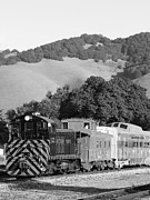 Old Caboose Prints - Historic Niles Trains in California . Southern Pacific Locomotive and Sante Fe Caboose.7D10819.bw Print by Wingsdomain Art and Photography