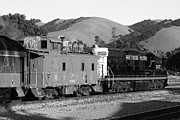 Old Caboose Prints - Historic Niles Trains in California . Southern Pacific Locomotive and Sante Fe Caboose.7D10843.bw Print by Wingsdomain Art and Photography