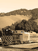 Caboose Prints - Historic Niles Trains in California.Southern Pacific Locomotive and Sante Fe Caboose.7D10819.sepia Print by Wingsdomain Art and Photography