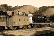 Old Caboose Prints - Historic Niles Trains in California.Southern Pacific Locomotive and Sante Fe Caboose.7D10843.sepia Print by Wingsdomain Art and Photography