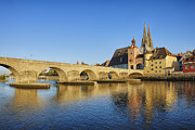 German Culture Prints - Historic Regensburg With Danube River Print by Martin Ruegner