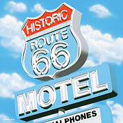 Signs Paintings - Historic Route 66 Motel by Anthony Ross